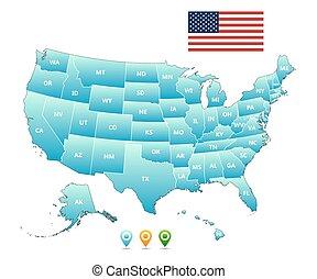 mappa, stati uniti diminuiscono, vettore, america