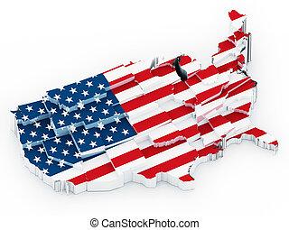 mappa, stati uniti, flag., illustrazione, americano, coperto, 3d