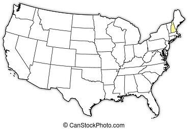 mappa, stati uniti, hampshire, evidenziato, nuovo