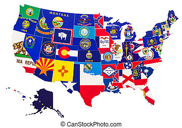 mappa, stati uniti, interpretazione, stato, bandiere, america, 3d