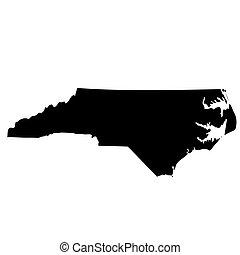 mappa, stati uniti., nord, stato, carolina