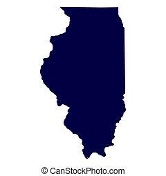 mappa, stati uniti., stato, illinois