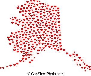 mappa, stato, alaska, mosaico, valentina