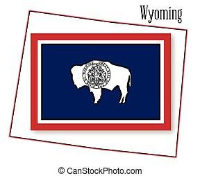 mappa, stato, bandiera wyoming