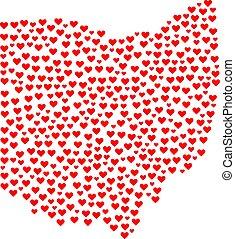 mappa, stato, ohio, mosaico, valentina