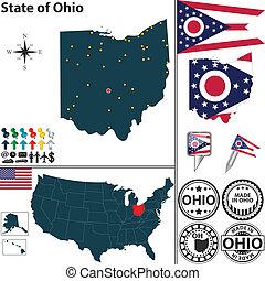 mappa, stato, ohio, stati uniti