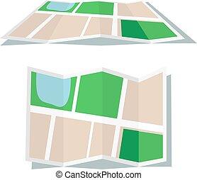 mappa, stile, icona, appartamento