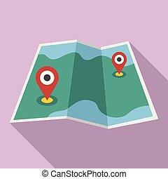 mappa, stile, perno, appartamento, carta, icona