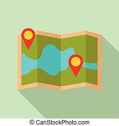 mappa, stile, perno, appartamento, tracciato, carta, icona