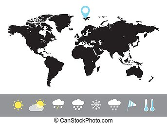 mappa, stile, vettore, appartamento, icons., tempo, illustrazione, mondo, black.