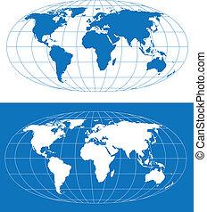mappa, stilizzato, mondo