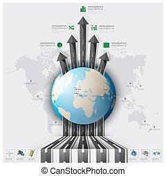mappa, strada, affari, viaggio, pista, infographic, viaggio ...
