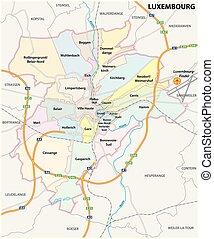 mappa, strada, amministrativo, città lussemburgo