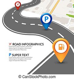 mappa, strada, colorito, città, infographic, prospettiva, sagoma, pointer., piolini, navigazione, strada