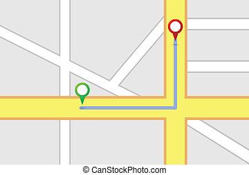 mappa strada, destinazione, tracciato