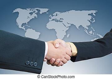 mappa, stretta di mano, uomo affari, fondo, mondo