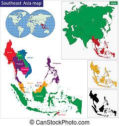 mappa, sudorientale, asia