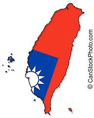 mappa, taiwan, bandiera
