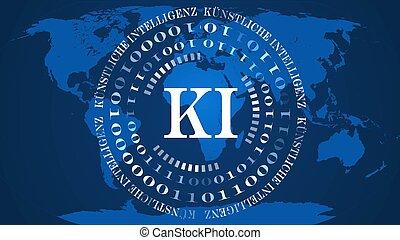 mappa, tedesco, ia, blu, -, bianco, cerchi, fondo, binario, intelligenza, lettere, intelligenz), astratto, ki, kuenstliche, mondo, codice, centro, artificiale, (in