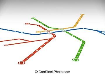 mappa, template., astratto, o, sottopassaggio, disegno, metro
