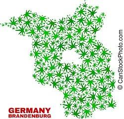 mappa, terra, foglie, brandenburg, canapa, mosaico