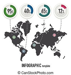 mappa, terra, infographics, template05