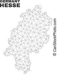 mappa, terra, maglia, polygonal, vettore, hesse