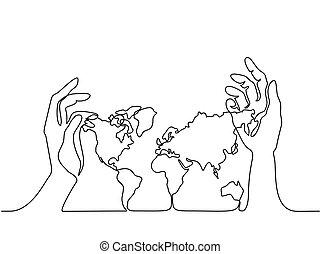 mappa, terra, mani umane