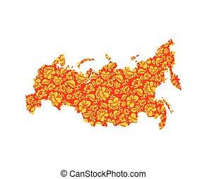 mappa, terra, nazionale, khokhloma, tradizionale, painting., russo, territorio, russia, popolo