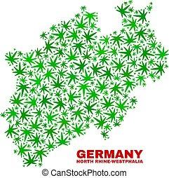 mappa, terra, renano-westphalia nord, foglie, canapa, mosaico