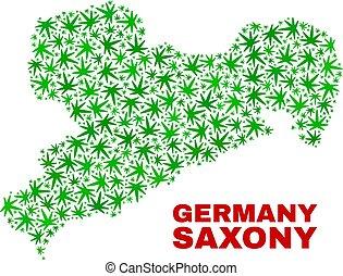 mappa, terra, sassonia, foglie, marijuana, mosaico