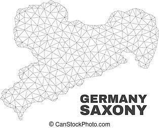 mappa, terra, sassonia, maglia, polygonal, vettore