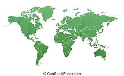 mappa, terra, silhouette