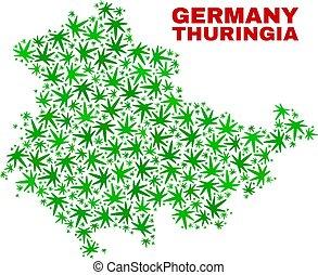 mappa, terra, thuringia, collage, foglie, marijuana