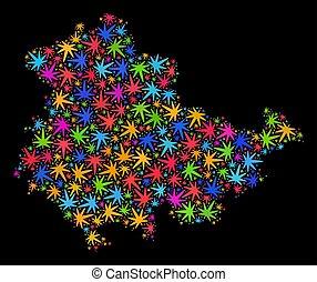 mappa, terra, thuringia, colorato, foglie, canapa, mosaico
