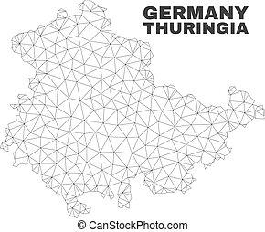 mappa, terra, thuringia, maglia, polygonal, vettore
