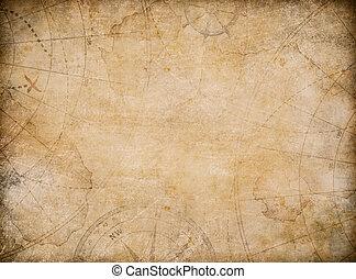 mappa, tesoro, invecchiato, fondo, bussola