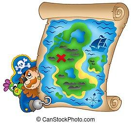 mappa, tesoro, pirata, appostando