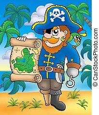 mappa, tesoro, spiaggia, pirata