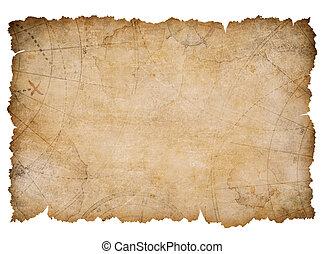 mappa, tesoro, vecchio, strappato, isolato, bordi, nautico