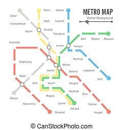 mappa, trasporto, colorito, metro, città, concept., stazioni, fondo, piano, vector.