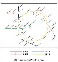 mappa, trasporto, metro, città, concept., template., disegno, sottopassaggio, piano, o
