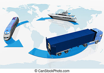 mappa, trasporto, mondo