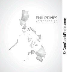 mappa, triangolo, filippine, grigio, prospettiva, mosaico
