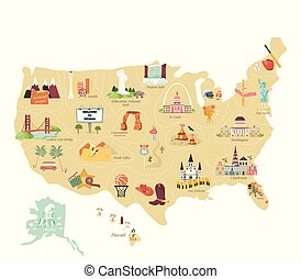 mappa, turista, stati uniti, limiti, famoso, vettore