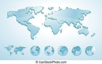 mappa, tutto, continenti, esposizione, illustrazione, terra, globi, mondo, 3d