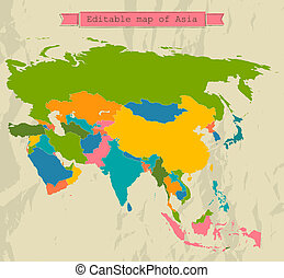 mappa, tutto, editable, asia, countries.