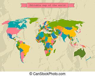 mappa, tutto, editable, countries., mondo