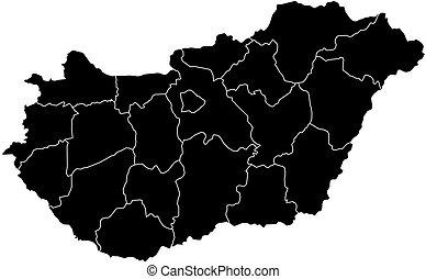 Ungheria contorno mappa amministrativo mappa - Mappa di ungheria ed europa ...