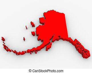 mappa, unito, astratto, alaska, stati, stato, america, rosso, 3d